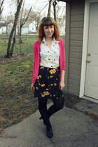 ivory thrifted vintage shirt - black CVS tights - black floral skort thrifted vi