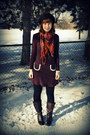 Magenta-handmade-dress-black-target-hat-dark-brown-vintage-scarf-dark-brow
