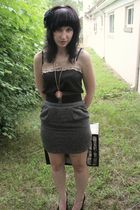 black top - gray skirt - pink accessories - black accessories - black accessorie