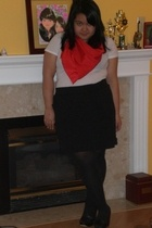 DIY scarf - James Perse skirt - HUE tights - Aldo shoes
