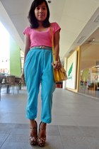 bubble gum mary janes Forever 21 heels - salmon bench shirt