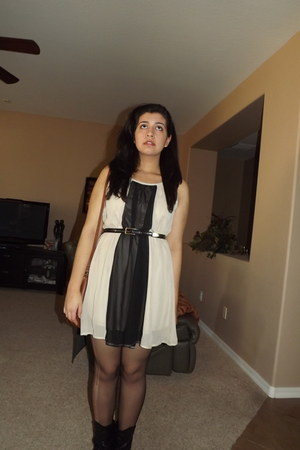 dress - sheer tights - black thrifted belt