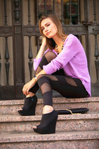 black black boots - amethyst Ross sweater - black twin shadow cicihot leggings