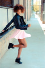 Black-cicihot-jacket-white-romwe-top-pink-zara-skirt