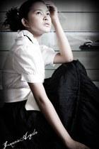 black silk Mango skirt - white casual mint blouse - white Accessorize belt
