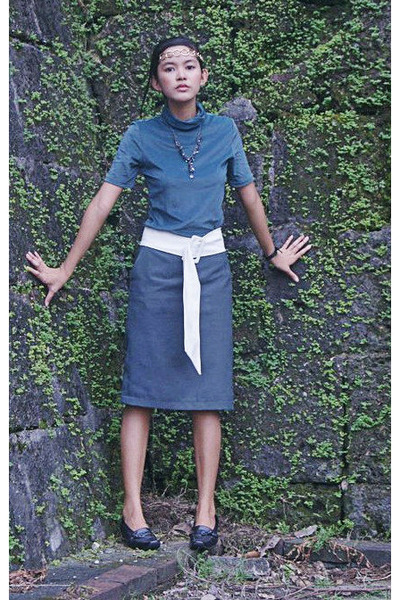 sm accessories necklace - white Accessorize belt - teal pencil DIY skirt