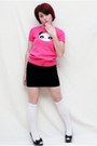 Hot-pink-crazy-8-top-black-gap-skirt-black-olsenboye-heels