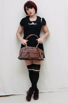 dark brown Matt & Natt bag - black Bebe dress - white Forever 21 blouse