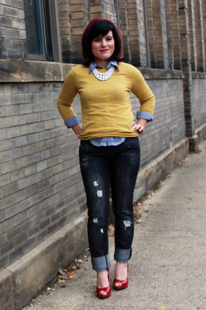 mustard Mossimo sweater - navy Kiss Kiss shirt - red Paprika heels