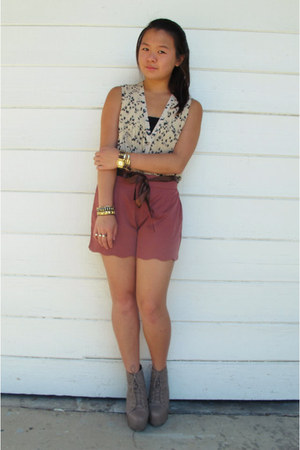 tan lita lookalikes boots - burnt orange scalloped shorts - beige blouse