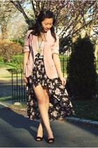 dark gray Forever21 skirt - pink Forever21 blazer