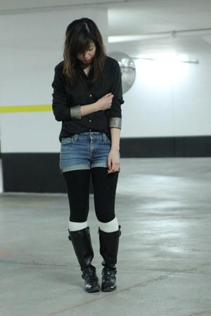 black aerosoles boots - sky blue Gap shorts - white Gap socks