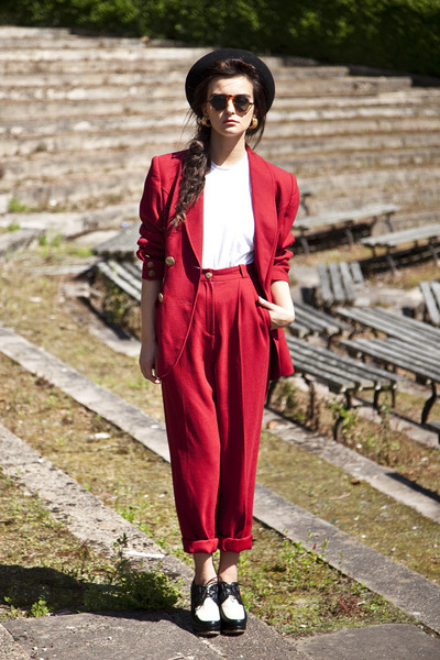 red vintage trouser suit suit