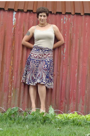blue Value Village skirt - beige Mexx shirt - beige Walmart shoes - silver farme