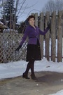 Purple-mexx-shirt-black-mexx-dress-black-mexx-belt-black-mexx-gloves