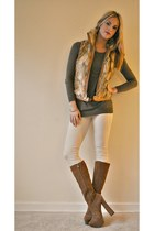 H by Halston boots - H&M sweater - faux fur Big Chill outerwear vest - H&M pants