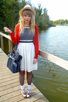 Dahlia dress - navy Topshop bag - red H&amp;M cardigan - brown Matalan wedges