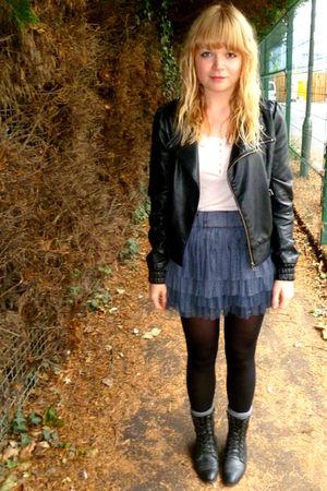 gray h&m via ebay skirt - black Miss Selfridge jacket - pink next top - black bo