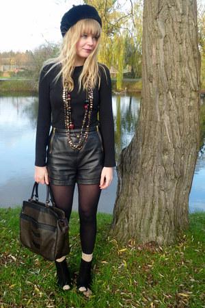 black leather Topshop shorts - thrifted vintage coat - black faux fur BHS hat