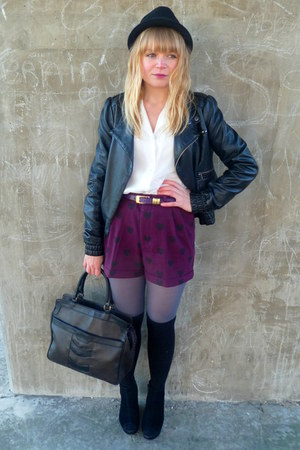 magenta H&amp;M shorts - black Miss Selfridge jacket - white vintage blouse - dark b