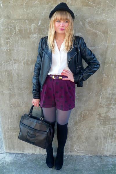 magenta H&M shorts - black Miss Selfridge jacket - white vintage blouse - dark b