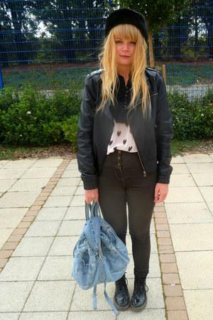 black faux leather Miss Selfridge jacket - light blue vintage Leviss bag