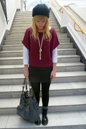 magenta Tu at Sainsburys sweater - white next top - black Topshop  Thrifted skir