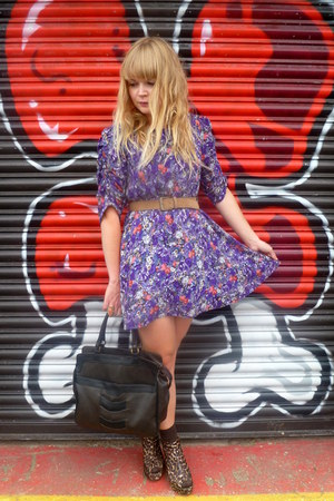 dark brown leopard Love Label wedges - purple floral Dahlia dress