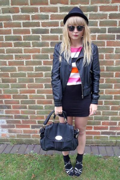 white striped H&M top - black faux leather Miss Selfridge jacket