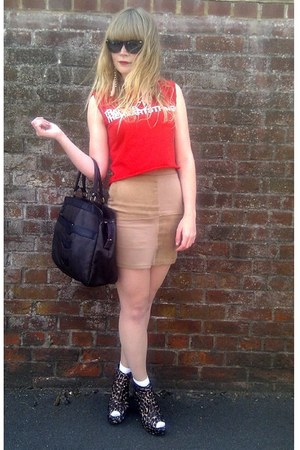 dark brown vintage bag - dark brown Love Label wedges - camel H&amp;M skirt - red cu