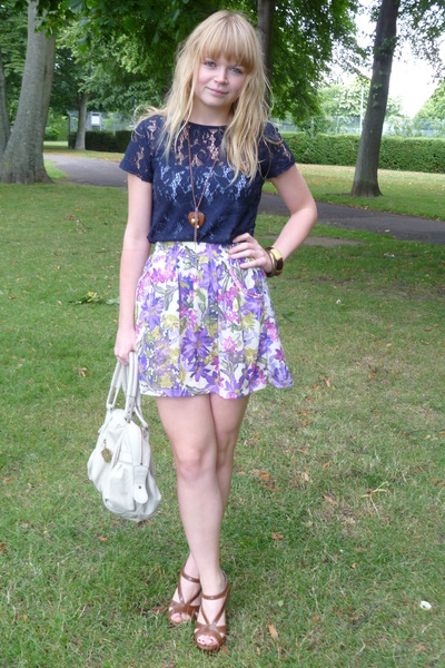 wedges Matalan shoes - cream Mischa Barton bag - floral River Island skirt
