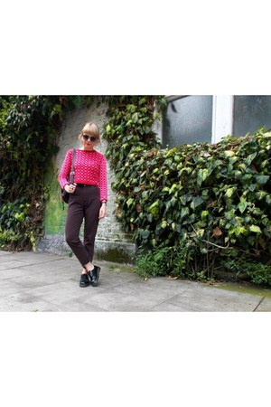pink Love Label sweater - black doc martens shoes - brown vintage pants