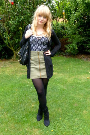 H&amp;M skirt - black H&amp;M boots - black asos top - black Topshop cardigan - black ne