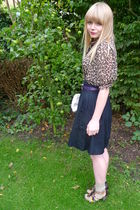 brown Primark blouse - black H&M skirt - next shoes