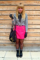 hot pink H&M skirt - black faux fur Cotton fields vintage hat