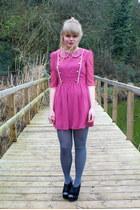 bubble gum Dahlia dress - periwinkle asos tights - black velvet next wedges