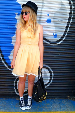 black Converse shoes - yellow Dahlia dress - black next bag