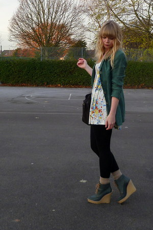 white tunic River Island top - teal asos shoes - green thrifted blazer