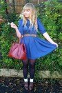 Brown-next-shoes-blue-dahlia-dress-dark-brown-leather-vintage-jacket