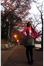 hot pink blazer H&M blazer - blouse - Thrift Store skirt - belt - flats