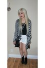Black-messenger-forever-21-bag-white-forever-21-shorts-tribal-cardigan