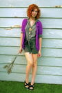 Purple-logo-instant-chic-cardigan-gray-forever-21-shorts-black-jessica-simps