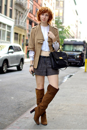 camel French Connection Style by UK jacket - dark brown Zara boots