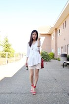 white vintage shorts - red Mango bag - red Zara heels - white H&M top