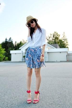 sky blue Zara skirt - red Zara heels - white H&M blouse