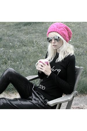 Topshop hat - bella freud sweater - Zara pants