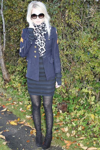vintage jacket - COS dress - Zara boots - H&M stockings - Chanel sunglasses