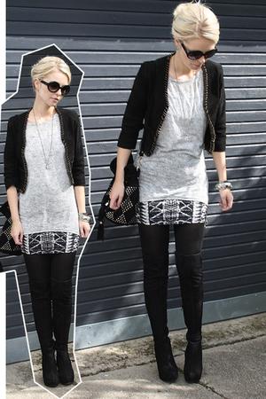 Topshop boots - Topshop skirt - Kate Moss for Topshop jacket - Zara t-shirt