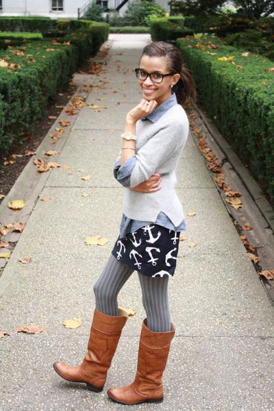 J Crew skirt - Frye boots - H&M sweater - J Crew shirt