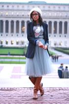 alexandra grecco skirt - Frye boots - J Crew sweater - Tobi blazer